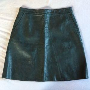 ZARA green faux leather skirt.